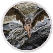 A Guardian Angel Round Beach Towel