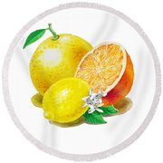 A Happy Citrus Bunch Grapefruit Lemon Orange Round Beach Towel by Irina Sztukowski