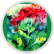 A Haze Of Poppies Round Beach Towel