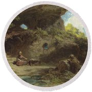 A Hermit In The Mountains Round Beach Towel