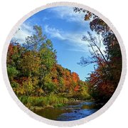 Round Beach Towel featuring the photograph A Hidden Creek by Kelly Mills