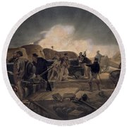 A Hot Night In The Batteries, Plate Round Beach Towel