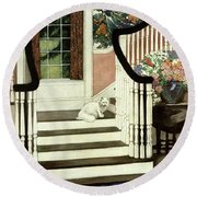 A House And Garden Cover Of A Cat On A Staircase Round Beach Towel