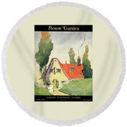 A House And Garden Cover Of A Cottage Round Beach Towel