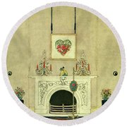 A House And Garden Cover Of A Fireplace Round Beach Towel