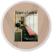 A House And Garden Cover Of A Hallway Round Beach Towel
