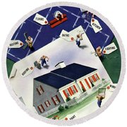 A House And Garden Cover Of A House Round Beach Towel