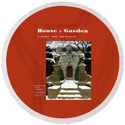 A House And Garden Cover Of A Mansion Round Beach Towel