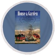 A House And Garden Cover Of A Model Ship Round Beach Towel