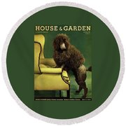 A House And Garden Cover Of A Poodle Round Beach Towel