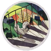 A House And Garden Cover Of A Rooster Round Beach Towel