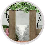 A House And Garden Cover Of A Seaside Patio Round Beach Towel