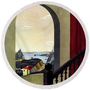 A House And Garden Cover Of A Seaside Village Round Beach Towel