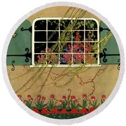 A House And Garden Cover Of A Window Round Beach Towel