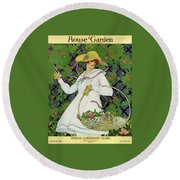 A House And Garden Cover Of A Woman Gardening Round Beach Towel
