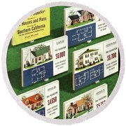 A House And Garden Cover Of Floorplans Round Beach Towel