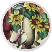 A House And Garden Cover Of Flowers And A Dove Round Beach Towel