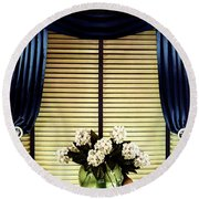A House And Garden Cover Of Flowers By A Window Round Beach Towel