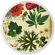 A House And Garden Cover Of Flowers Round Beach Towel