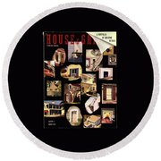 A House And Garden Cover Of House Details Round Beach Towel