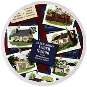 A House And Garden Cover Of Houses Round Beach Towel