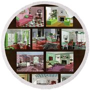 A House And Garden Cover Of Interior Design Round Beach Towel