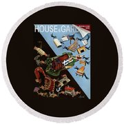A House And Garden Cover Of People Moving House Round Beach Towel