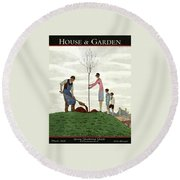A House And Garden Cover Of People Planting Round Beach Towel