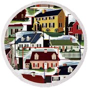 A House And Garden Cover Of Suburban Houses Round Beach Towel