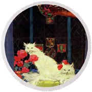 A House And Garden Cover Of White Cats Round Beach Towel