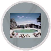 A House In Miami Round Beach Towel by Tom Leonard