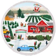 A Jolly Holly Holiday Round Beach Towel