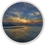 Round Beach Towel featuring the photograph a joyful sunset at Tel Aviv port by Ron Shoshani