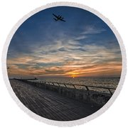 Round Beach Towel featuring the photograph a kodak moment at the Tel Aviv port by Ron Shoshani