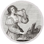 A Lady At Her Toilette, After A 17th Century Engraving By Le Blond.  From Illustrierte Round Beach Towel
