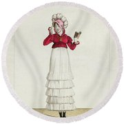 A Lady In A Levantine Hat Round Beach Towel