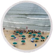 A Lifeguard Gives A Safety Briefing To Beachgoers In Ocean City Maryland Round Beach Towel