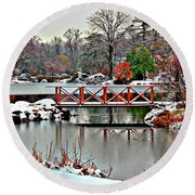 Round Beach Towel featuring the photograph A Light Dusting Of Snow by Judy Palkimas