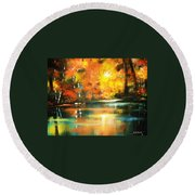 Round Beach Towel featuring the painting A Light In The Forest by Al Brown
