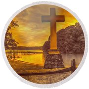 Round Beach Towel featuring the photograph A Light Unto The World by Dennis Baswell