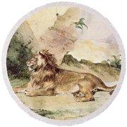 A Lion In The Desert Round Beach Towel