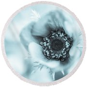 A Little Bit Blue Round Beach Towel by Caitlyn  Grasso