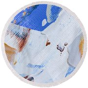 Round Beach Towel featuring the painting A Little Blue by Heidi Smith