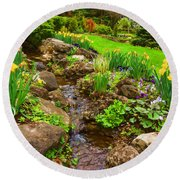 A Little Creek In The Garden - Impressions Of Spring Round Beach Towel