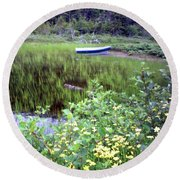 Round Beach Towel featuring the photograph A Little Flat Awaiting by Barbara Griffin