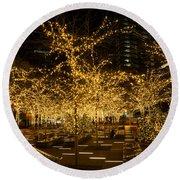 A Little Golden Garden In The Heart Of Manhattan New York City Round Beach Towel by Georgia Mizuleva