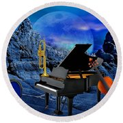 A Little Night Music Round Beach Towel
