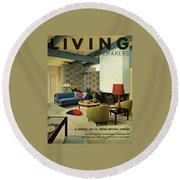A Living Room With Carpeting By Callaway Round Beach Towel