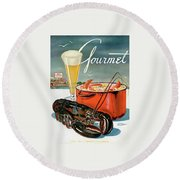 A Lobster And A Lobster Pot With Beer Round Beach Towel by Henry Stahlhut