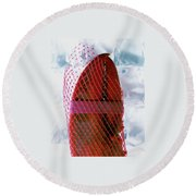 A Lobster Claw In Red Packaging Round Beach Towel